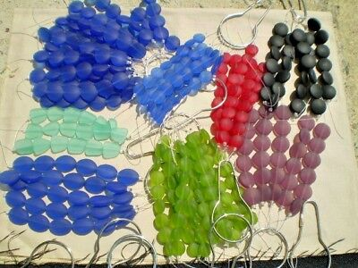30 STRANDS RANDOM Bulk Mix Sea Beach Glass Beads Frosted Mat ROUNDS COINS SHAPES