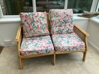 Conservatory two seater bamboo style sofa