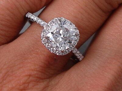 1.89 CARAT CUSHION CUT GENUINE LAB GROWN DIAMOND ENGAGEMENT RING - D SI2