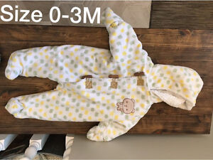 Baby snow suits and hats for sale