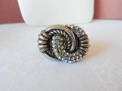 Vintage Size 8 Silvertone & Rhinestone Ring J02 on Rummage