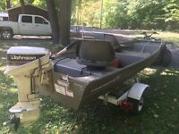 2013 Tracker Jon boat and 15 Hp Johnston Outboard
