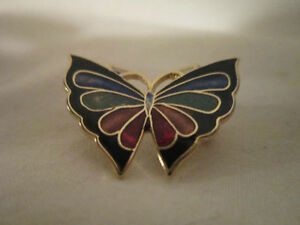 Cute and Colorful - Enameled & Gold Tone - Butterfly Brooch