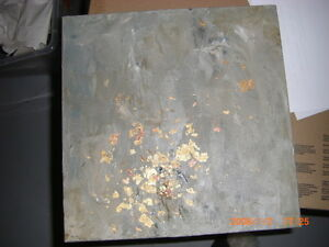 ABSTRACT MODERN HAND PAINTED OIL IN GREY WITH GOLD LEAF INLAY