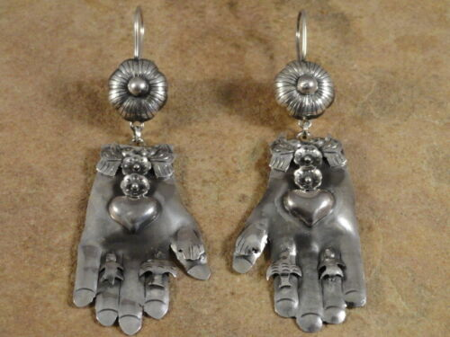 Mexican Mexico Sterling Silver Frida Milagros Hand Earrings