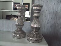 PAIR SILVER GLASS CHUNKY CANDLE STICKS