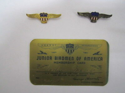 JUNIOR BIRDMEN OF AMERICA MEMBERSHIP CARD & 2 SETS OF WINGS  HEARST NEWSPAPERS