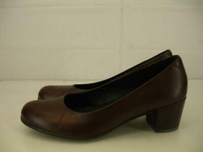 Womens sz 6 37 ECCO Sculptured 45 Plain Pumps Dress Shoes Brown Leather Low Heel