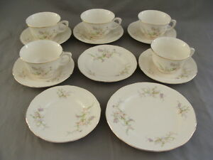 Vintage Crown Potteries 5 Cups, 7 Saucers & 1 Salad Plate #451 USA