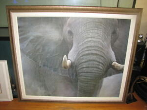 LARGE ELEPHANT PICTURE PAINTING OIL STYLE RETRO IVORY UNIQUE FRA