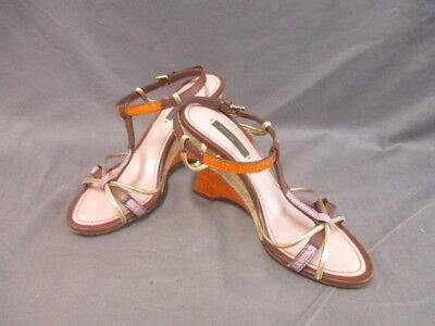 Auth LOUIS VUITTON Bordeaux Orange Gold Leather NL1006 Sandals Women