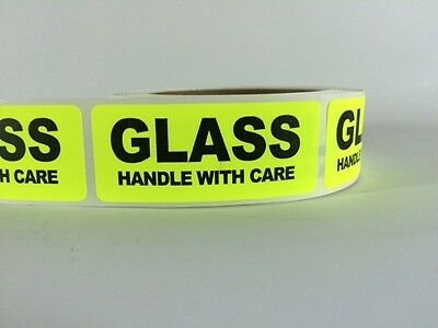 200 1x3 Glass Handle With Care Labels Stickers Neon Yellow Fluorescent Fragile