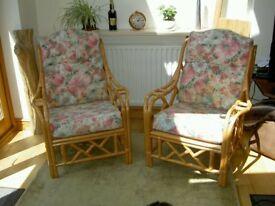 Three piece cane seating