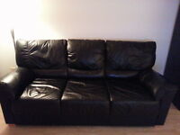 Genuine Leather Sofa (can be converted into Futon bed)