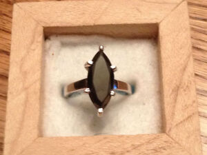 Beautiful Black Marquise Cut Diamond Solitaire Silver Ring