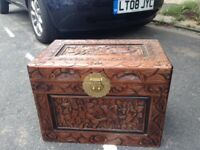 Vintage hand carved wooden chest
