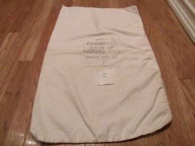 18  X 29 5  Vintage Used  Commerce Bank Of Kansas City Mo Cloth Bank Bag Sack