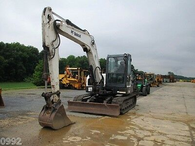 2010 Bobcat E80 Hydraulic Excavator Full Cab Air Heat Blade New Tracks