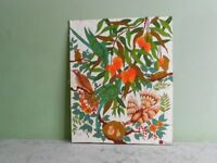 Beautiful Batik from Sri Lanka with Birds of Paradise perched on an exotic fruit tree. It is mounted
