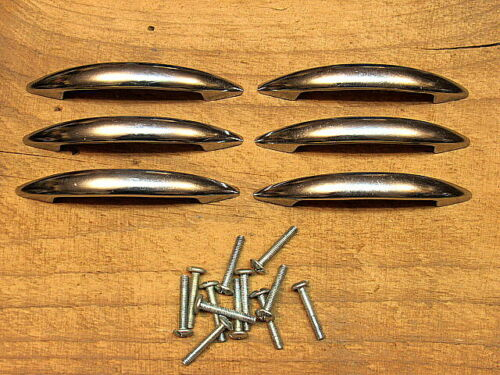 6 Vintage Chrome Mid Century Drawer Pulls Handles Atomic