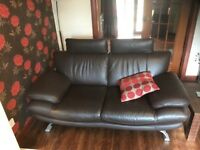 Brown Leather Sofas and pouffe (ex DFS).