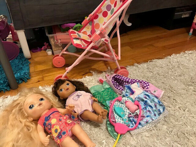 Lot of 2 Baby Alive Dolls with Stroller and Accessories