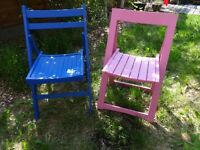 Vintage wooden fold up chairs