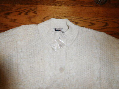 Denim & Co  Cable Knit Poncho  Sweater  Button Closure    Size XL  Natural   (Denim Poncho)
