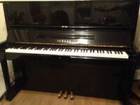 YAMAHA U1 Upright Piano Gloss Black Made in Japan with matching black chair c1978