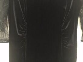 M&S collection black velvet / lace maxi evening dress