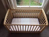 baby cot / bed from John Lewis 0-4 years, solid wood + mattress & linens in perfect condition