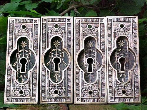 4 ANTIQUE VICTORIAN EASTLAKE BRASS POCKET DOOR KEYHOLE LOCK COVER PLATE HARDWARE