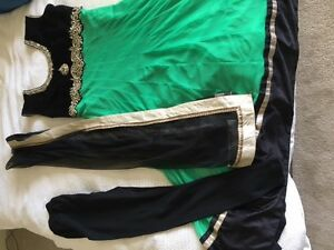 Black and green churidar style anarkali Indian suit