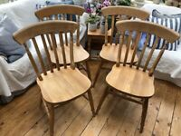 4 Lovely Solid Farmhouse Flatback Chairs