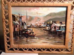 Williams-Oil-Expressionist-Painting-Fishing-Village