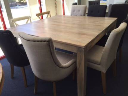 Mirage Solid Mango Wood 150cm Square Dining Table Packages 1799 Castle Hill
