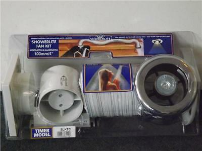 """Bathroom Extractor Shower light Fan Kit 4"""" Chrome/white +Timer NEW Manrose SLKTC"""