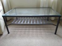 Ikea Modern Long Coffee Table, black metal frame with glass top
