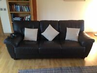 Genuine Brown Leather Sofa (3 Seater) & Cushions - Excellent Condition