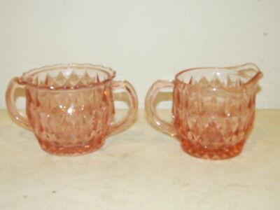Vintage Pink Creamer & Sugar in the Windsor Pattern by Jennette Glass. VFC