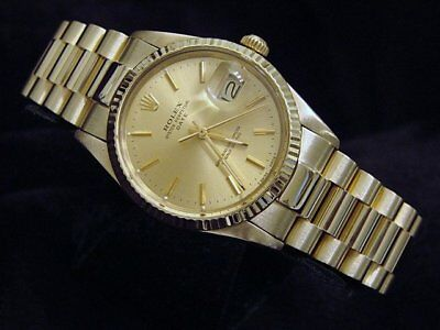 Rolex Date 15037 Mens Solid 14K Yellow Gold Watch Presidential Style Band