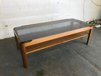 Retro Teak Coffee Table - Vintage Mid Century Glass Top Table