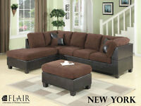 3PC MICRO PLUSH FABRIC SECTIONAL $898