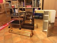 Miscellaneous bathroom fixtures: mirrored cabinet, trolley, towel rail, free standing mirror