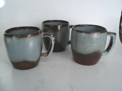 (3) Frankoma Pottery 5C Coffee Mugs Blue Brown Woodland Moss NO CRAZING