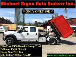2006 FORD F450 HOOKLIFT DUMP TRUCK **ONLY 49K** VERY RARE
