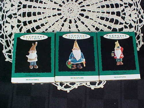 (3) Gnomes - 1993 Lighting a Path - Into the Woods - Learning to Skate Hallmark