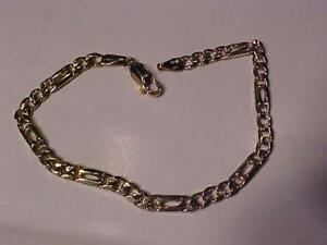 "#1253-VERY NICE 14K Y/Gold FIGARO LINK BRACELET-LOBSTER CLAW CLOSURE-7 1/4"" LONG-FREE SHIPPING & LAYAWAY-CANADA ONLY"