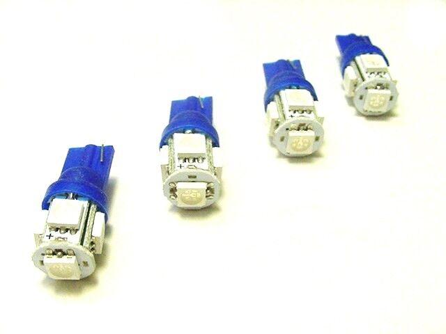 4 BRIGHT Blue 5 LEDs 12V Side Marker License Plate Clock Dash Lights Bulbs Ford