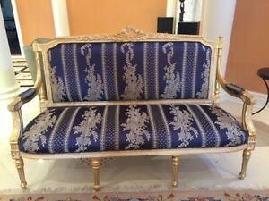 5 Piece Living Room Set (Hand Crafted)- Blue on Gold - Classical